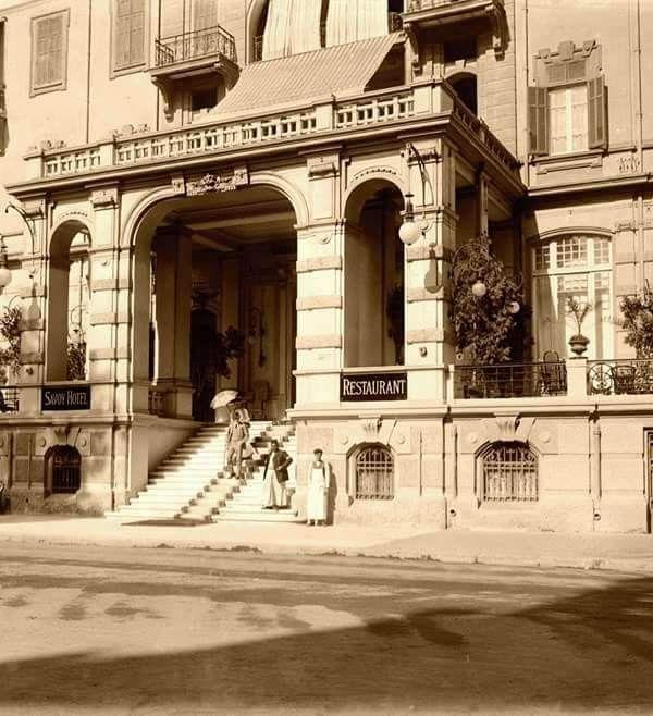 المدخل الرئيسي لفندق جراند سافوي شارع قصر النيل باتجاه ميدان سليمان باشا طلعت حرب حاليا القاهره عام 1911 Reem Egypt Old Egypt Cairo
