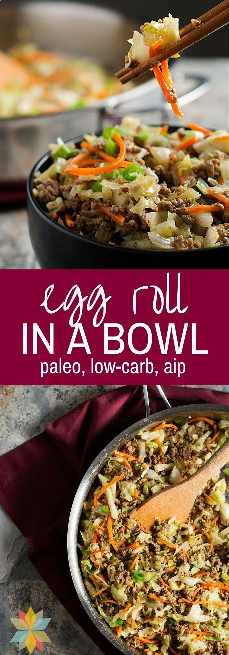This Egg Roll in a Bowl has all of the great flavor of Egg Rolls, but its an Easy One Pan Meal without the grain wrapper!