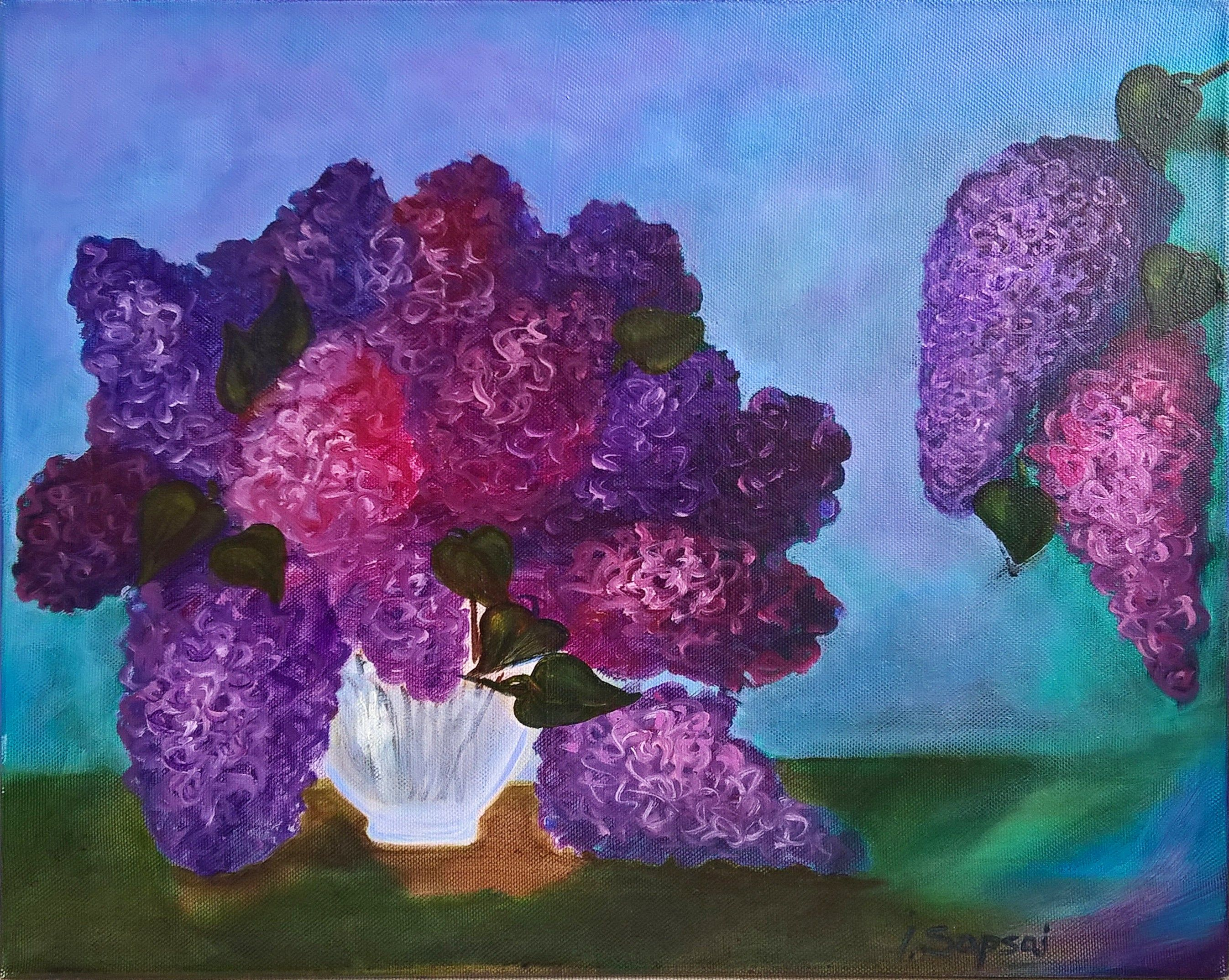 Lilac Flower Canvas Wall Art Lilacs In A Vase Still Life Flowers In A Vase Purple Flower Canvas Wall Art Oil Painting Lilacs Flowers In 2020 Flower Canvas Wall Art Flower