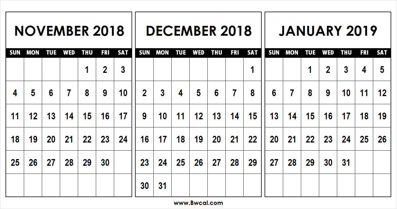 Calendar For November 2019-January 2019 Calendar November December 2018 January 2019 Template | calendr