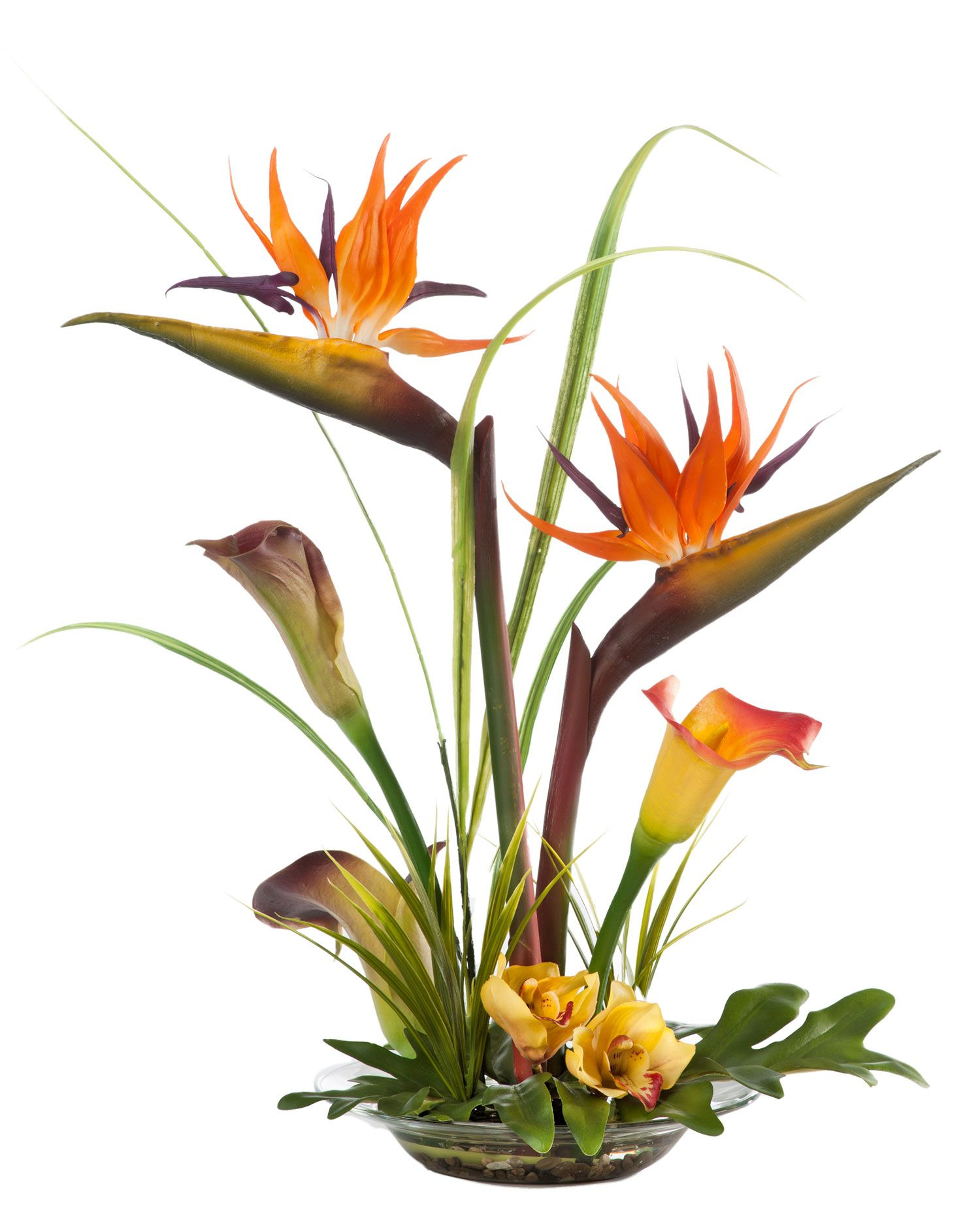 Bird Of Paradise Calla Lily Silk Arrangement A Serene And Lifelike Tropical Tropical Flower Arrangements Silk Flower Centerpieces Birds Of Paradise Flower
