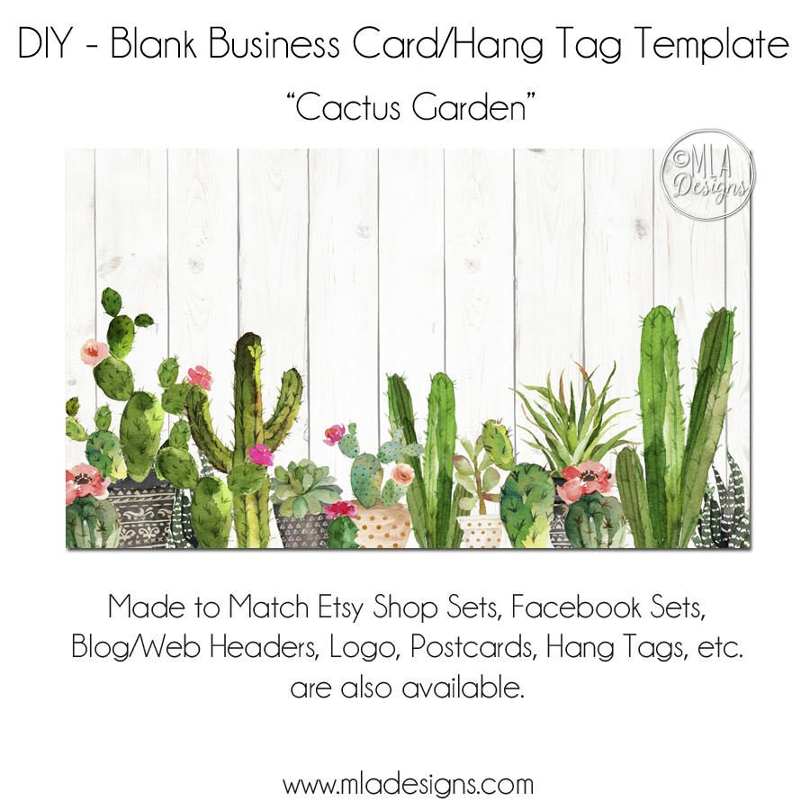 DIY Blank Business Card Template - Cactus Garden - Cactus Business ...