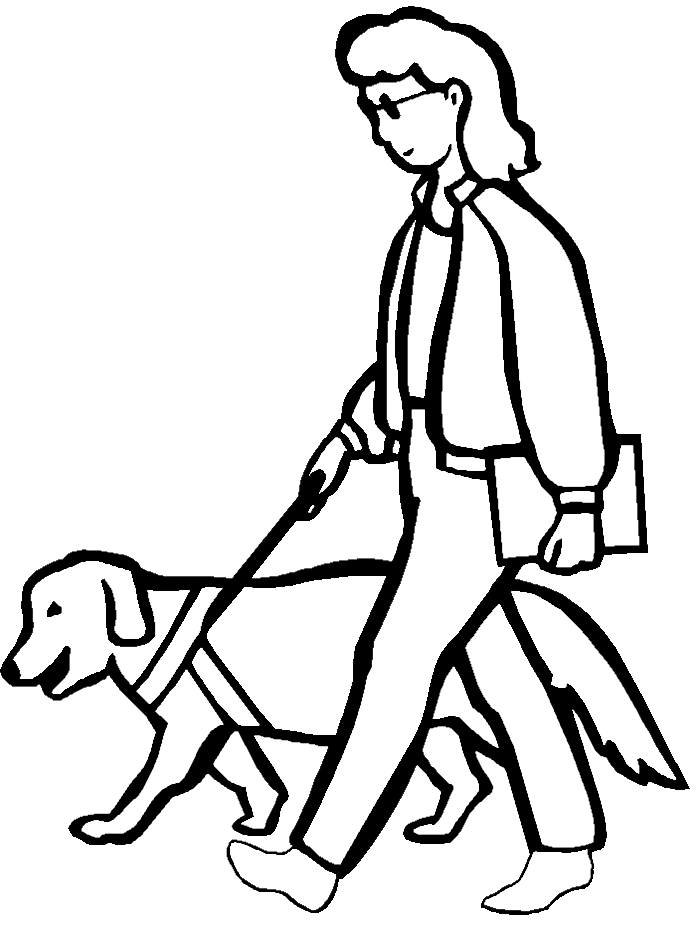 A Blind Woman Walking With Dog Coloring Pages