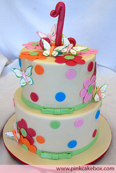 polka dot and butterfly 1st birthday cake