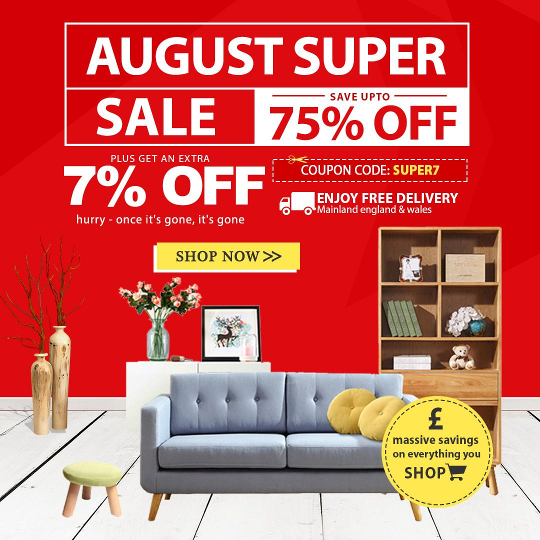 August Super Sale Up To 75 Off Flat 7 Off On All