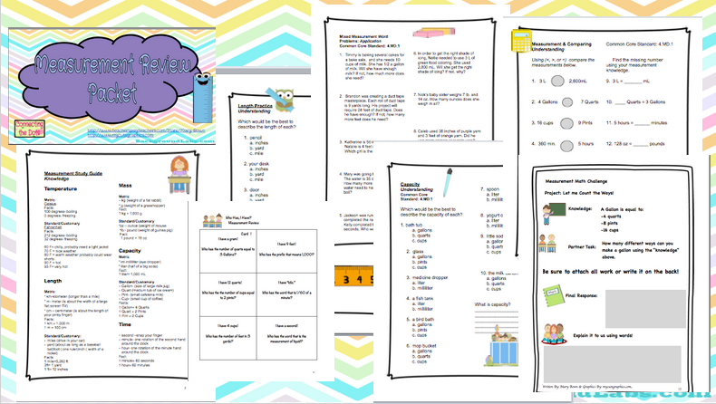 Measurement Packet! Perfect resource for review or classroom practice!