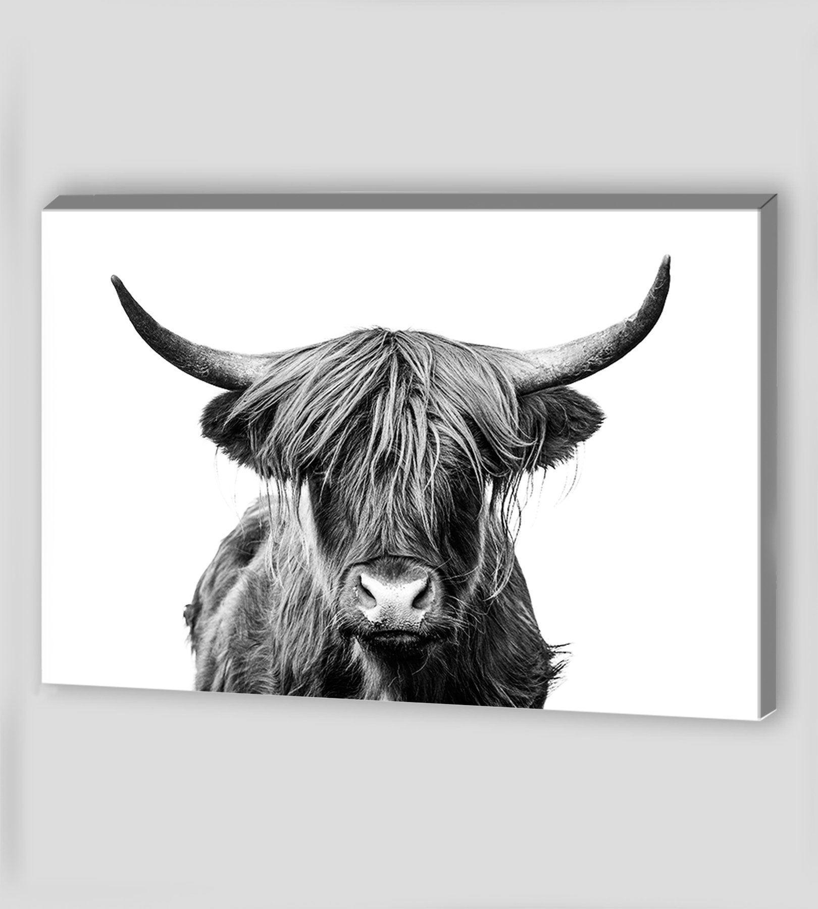 Canvas Art Highland Cow Wall Art Highland Cow Canvas Wall Art Etsy Cow Wall Art Highland Cow Canvas Cow Canvas