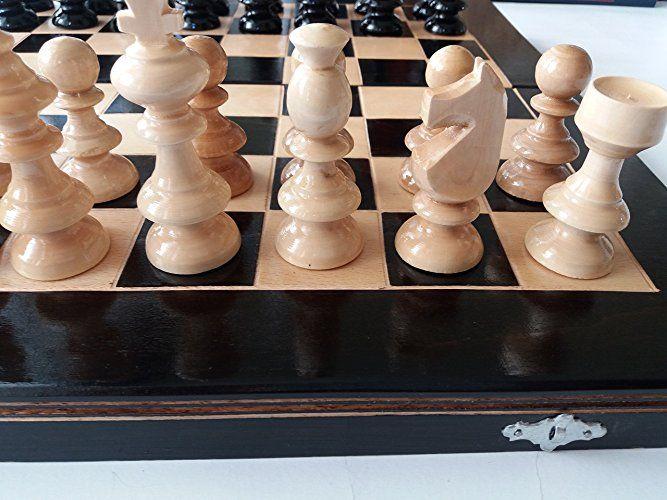 Tavolo Scacchiera ~ Nero set di scacchi in legno nuovo backgammon dama scatola da