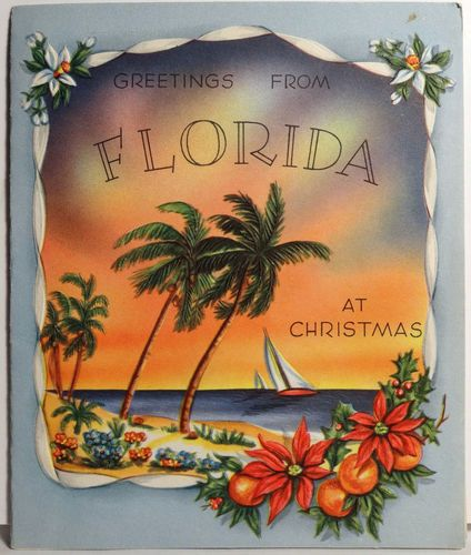 40s Greetings From Florida Vintage Christmas Card | Vintage ...