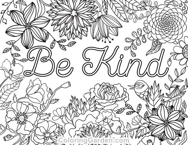 "Free printable ""Be Kind"" adult coloring page. Download it"