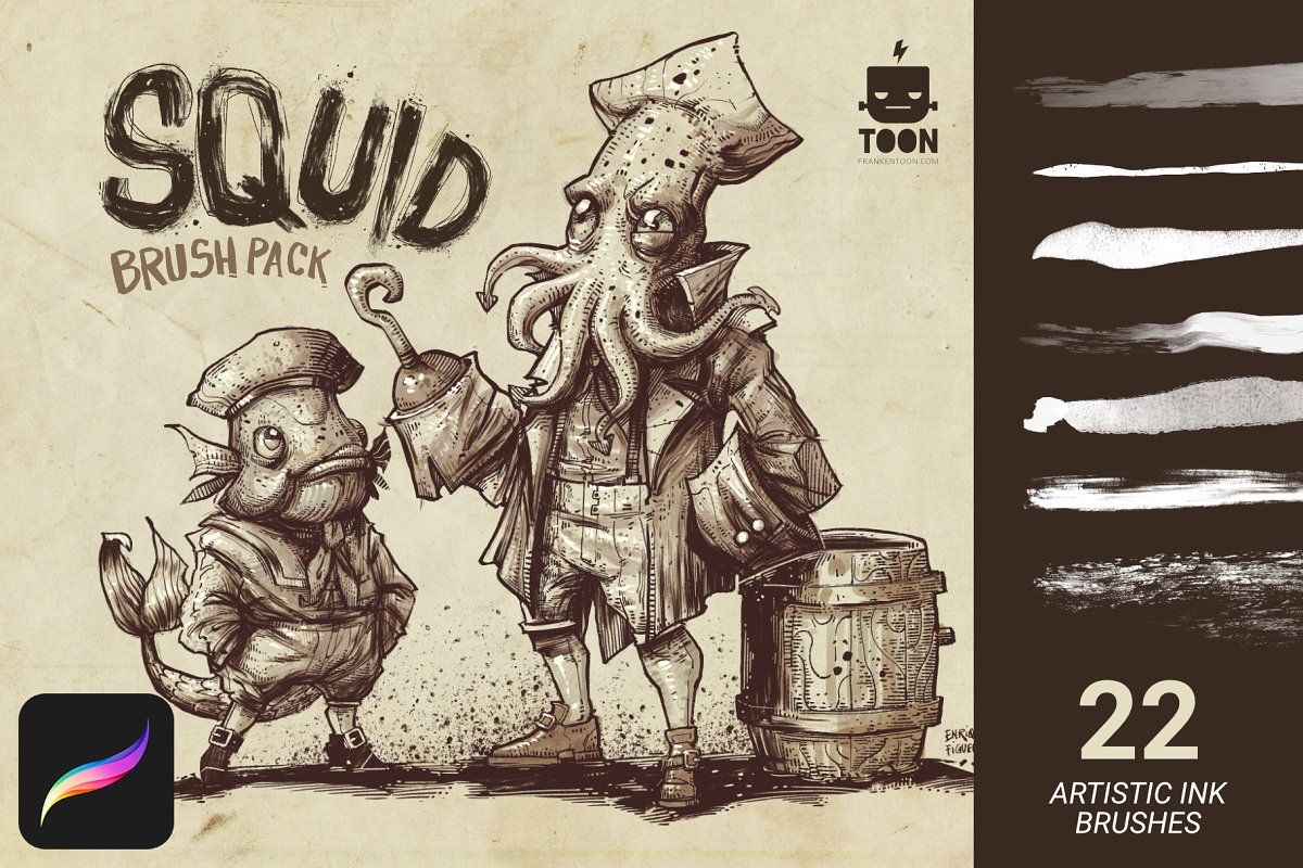 Squid Brush Pack For Procreate Brushes Creative Market