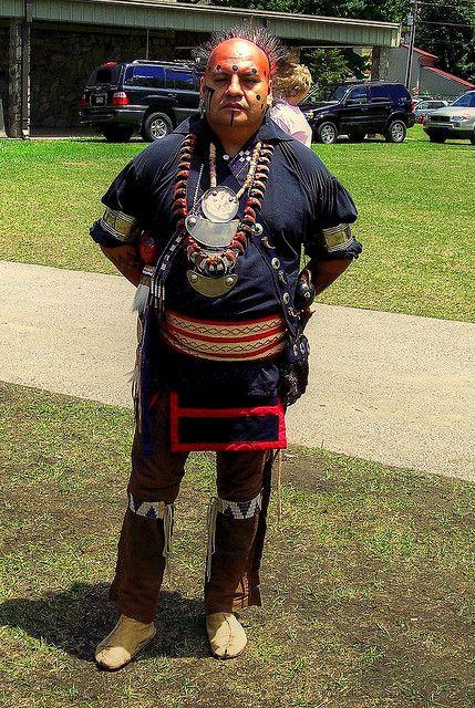 Cherokee man in Traditional Cherokee clothes, Cherokee village