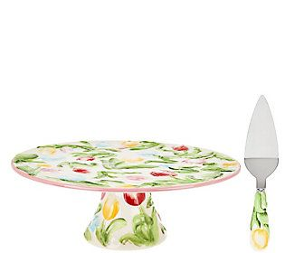 Temp-tations Figural Floral Cake Stand and Server