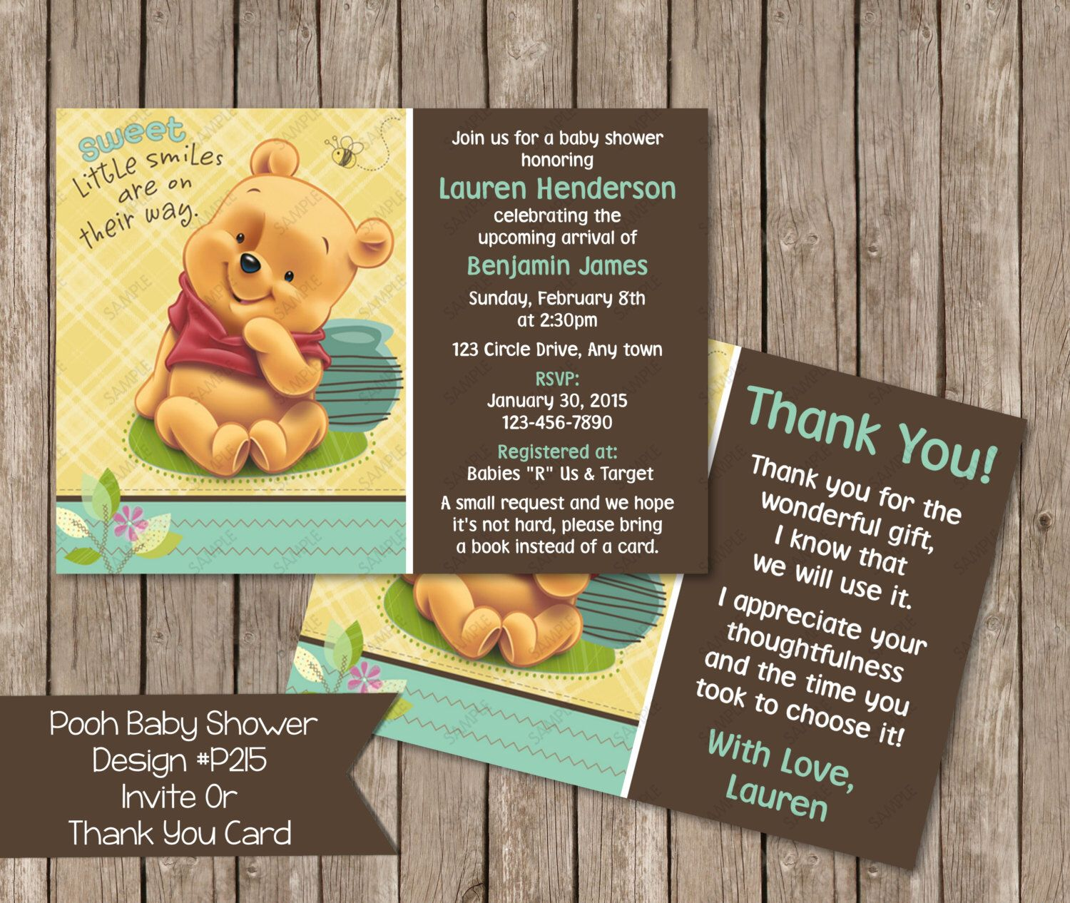 Baby Winnie the Pooh Baby Shower Invitaiton OR Thank you card -  Digital File by PeriwinklePapery on Etsy https://www.etsy.com/listing/228506966/baby-winnie-the-pooh-baby-shower