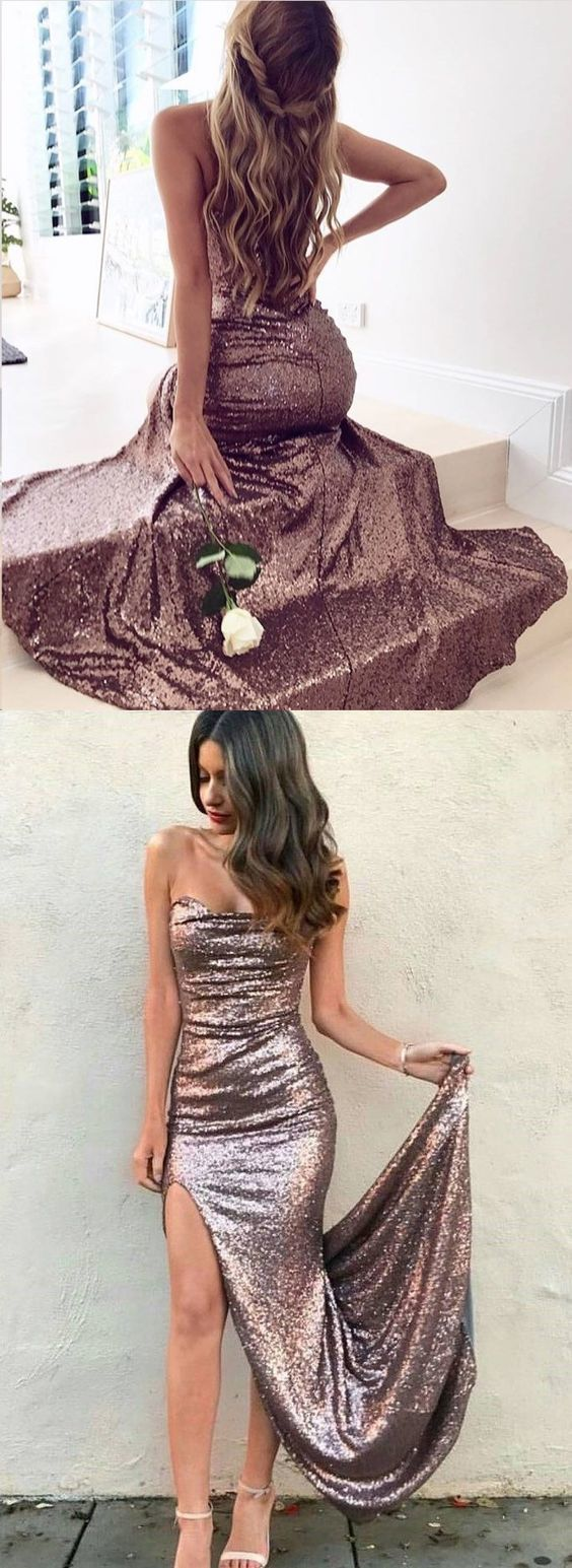 Sparkly prom dresses sheath short train slit prom dress long evening