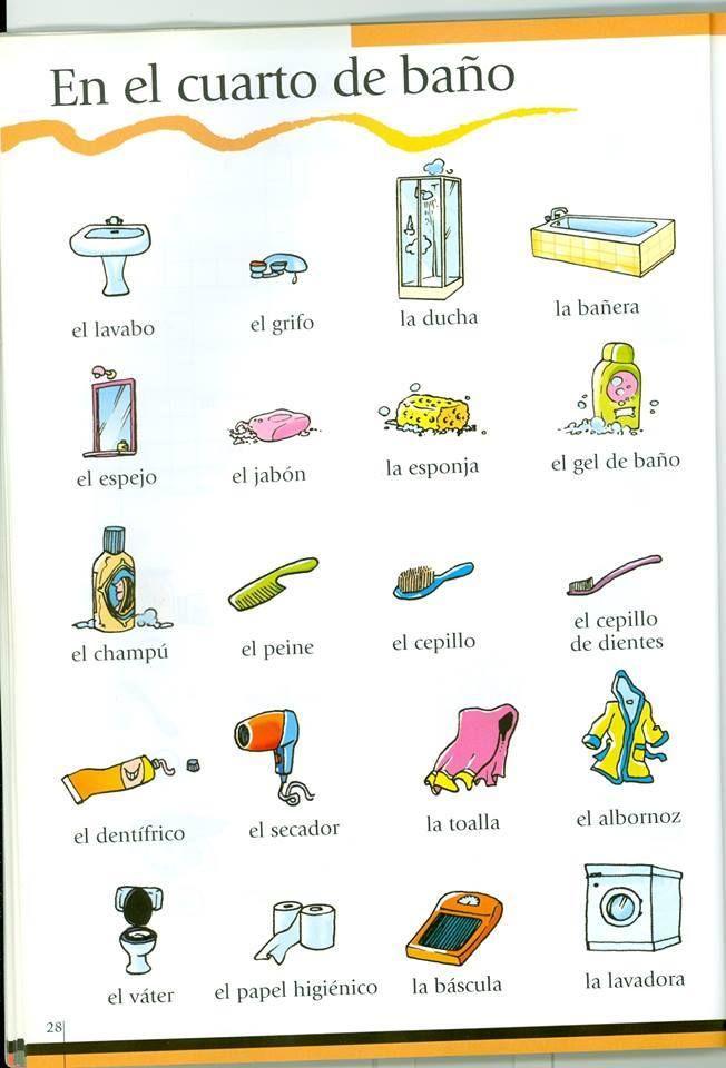 En el cuarto de ba o spaanse woordjes leren pinterest - El cuarto de bano ...