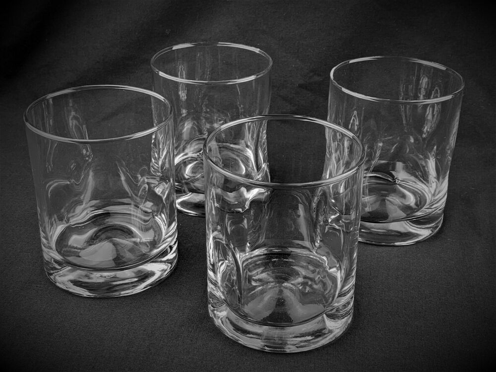 Set (4) Side & Bottom Dimpled Clear Glass Whisky / Old