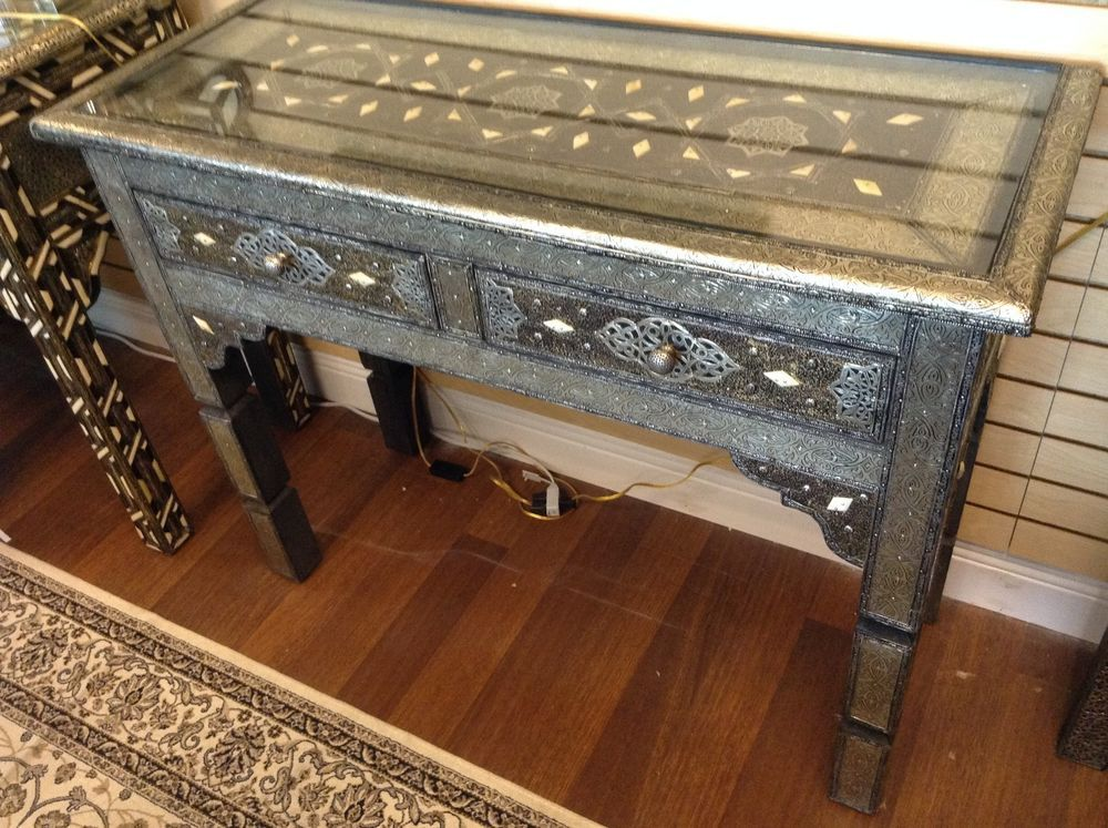Moroccan Style Console Table Embossed Metal Arabic Pattern 2 Drawers Glass  Top #Handmade #Moroccan