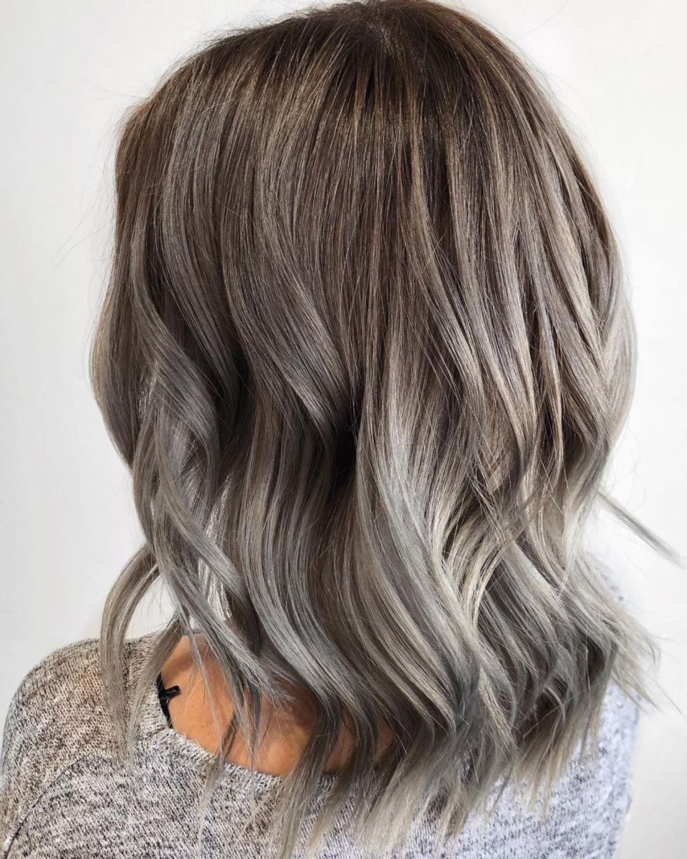 60 Shades Of Grey Silver And White Highlights For Eternal Youth Gray Balayage Balayage Hair Grey Silver Grey Hair
