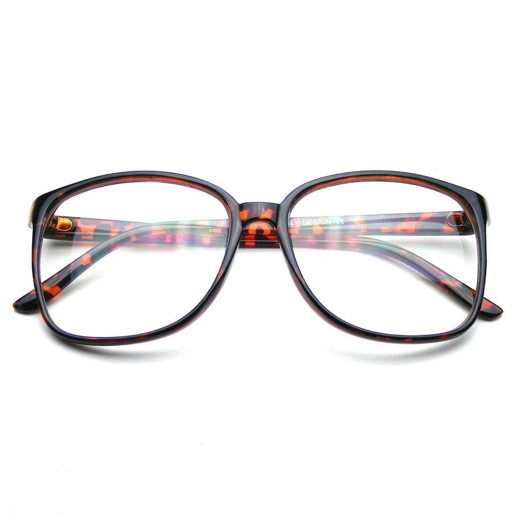 Large Oversized Wayfarer Glasses Clear Lens Thin Frame Nerd Glasses