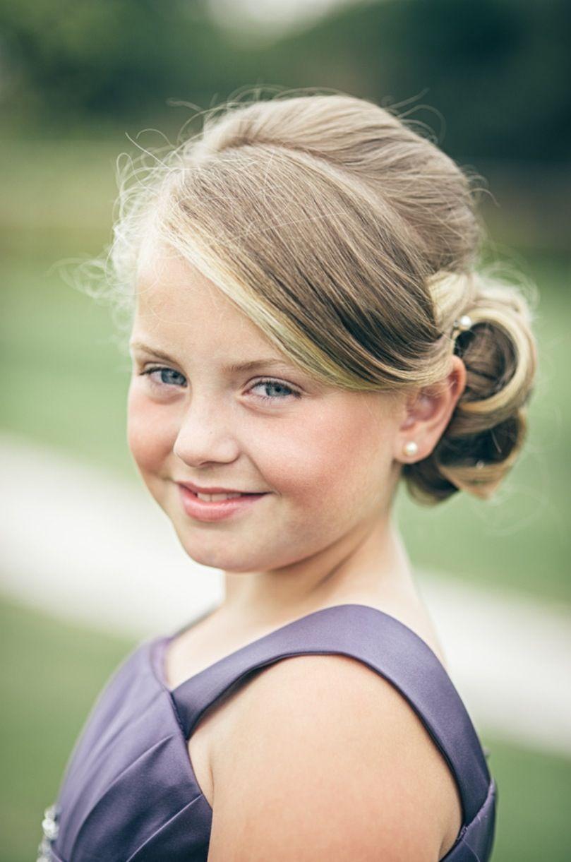 Wedding Hair Flowergirl Child Kids Little Girl Side Bun Style Junior Bridesmaid Hair Kids Hairstyles For Wedding Kids Hairstyles