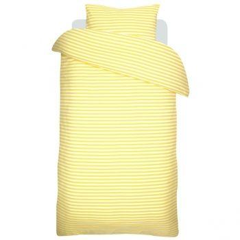 Tasaraita pussilakana ja tyynyliina, kelta-valkoinen