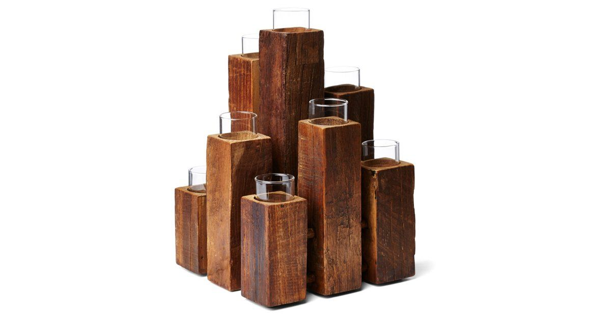 "12"" Unysn Elm Staggered 9-Light Pillar"