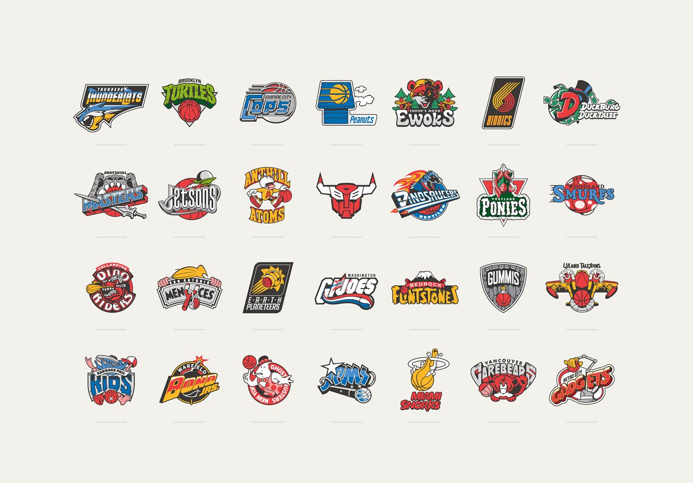 Here is the full set of logos we created as a tribute mash