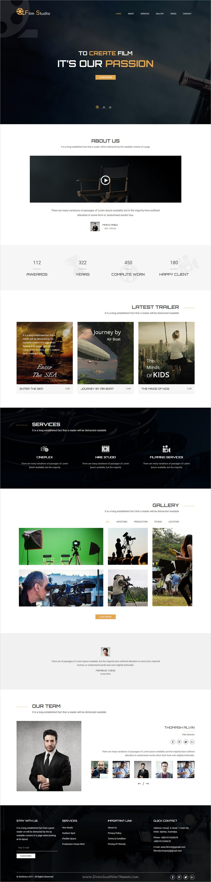 Film studio movie production film studio creative film studio is clean and modern design bootstrap theme for film campaign and movie marketing website download now maxwellsz