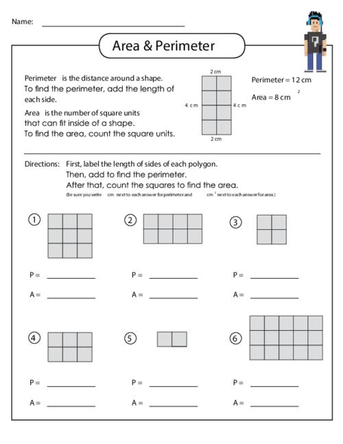 Area Perimeter Worksheet Math Measurememt Pinterest
