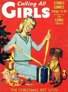 Calling All Girls magazine (1958) with dachshund helping to wrap gifts.  Vintage Christmas illustration.