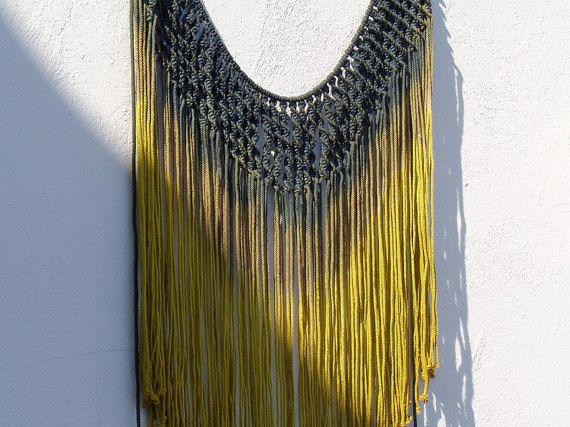Hippie decor, boho curtain, macrame curtain, bohemian curtain, dark blue, gold decor, macrame wall hanging large, C7