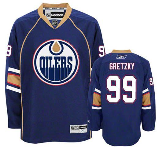 Edmonton Oilers #99 Wayne Gretzky Navy Blue Jersey - Womens
