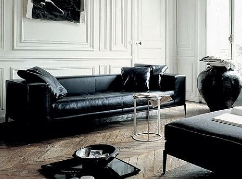 Love This Sleek Black Leather Lounge Monochrome Sofas Couches