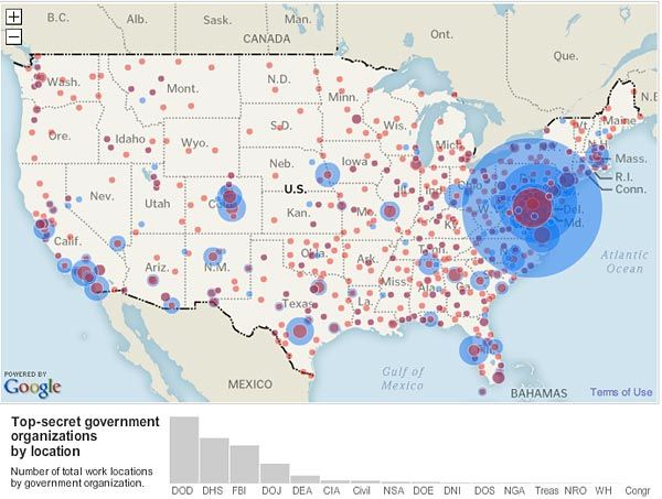 Map Of Government And Private Security Agencies In The US - Us government maps