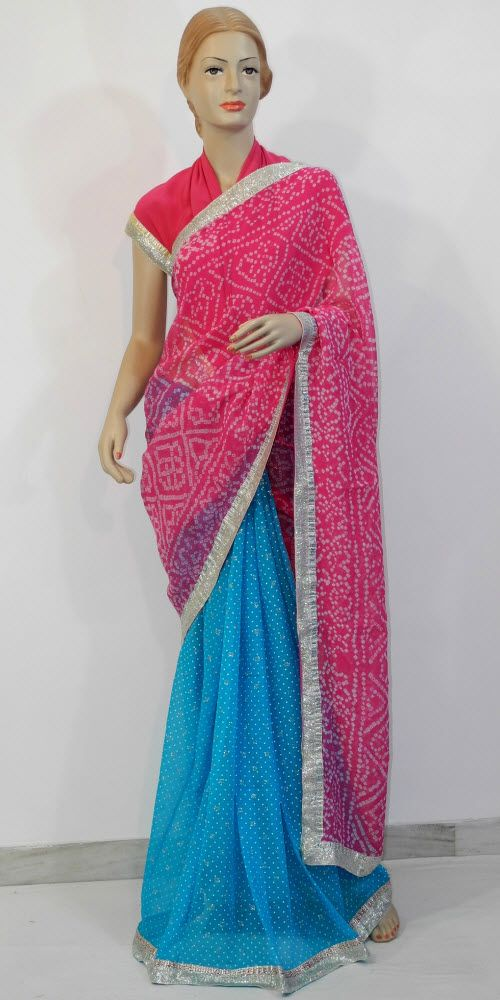 Buy this Designer Bandhani Saree Online : http://www.maanacreation.com/product-view/?id=562 This trendy designer Saree is unique, individually crafted to give gorgeous look to your personality. Drape this one in style and walk with pride to your parties and functions. . Every party occasion ranging from weddings to cocktail parties, this Saree brings that extra charm and appeal to your appearance, just right for the moment. Soaked in bright colours and sophisticated embroidered designs, this…