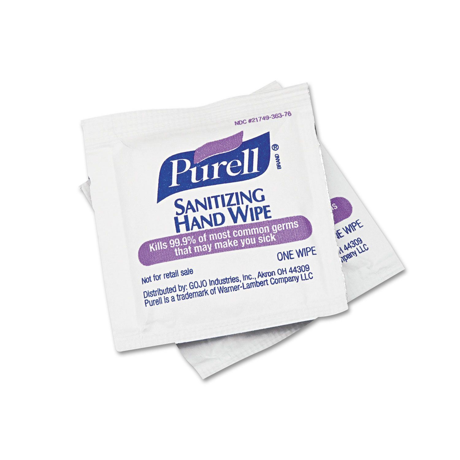 Purell 5x7 Inch Sanitizing Hand Wipes Box Of 100 White