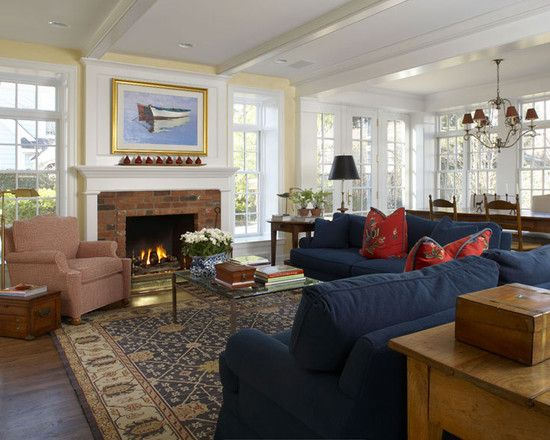 Denim Sofa Design Ideas Pictures Remodel And Decor Traditional Family Rooms Family Room Family Room Design