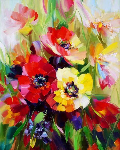 Pintura Y Fotografía Artística Flores Al óleo Con Espátula Alexander Sergeev Rusia Flores Pintadas Flores Abstractas Como Pintar Flores