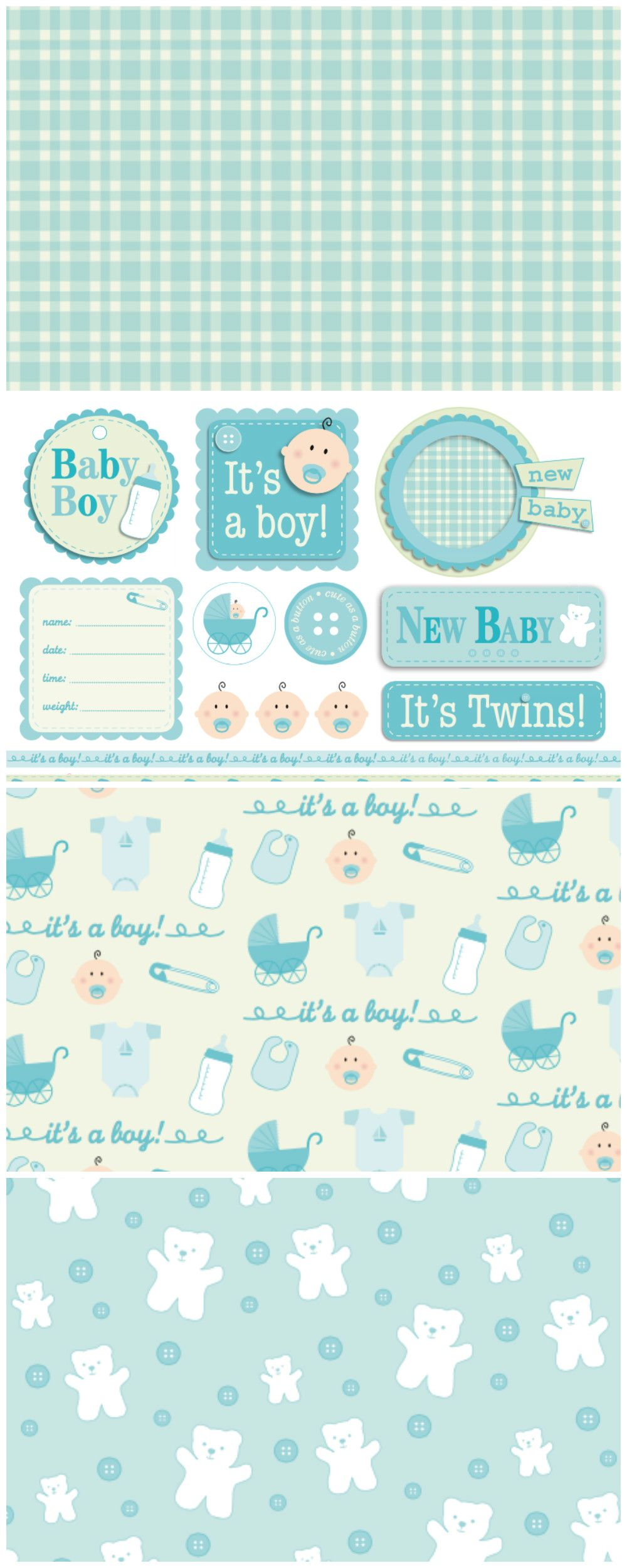 Free Classic New Baby Patterned Papers Boy Scrapbook Paper Baby Cards Handmade Baby Boy Scrapbook