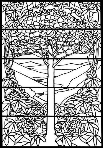 stained glass coloring page - Stained Glass Coloring Book