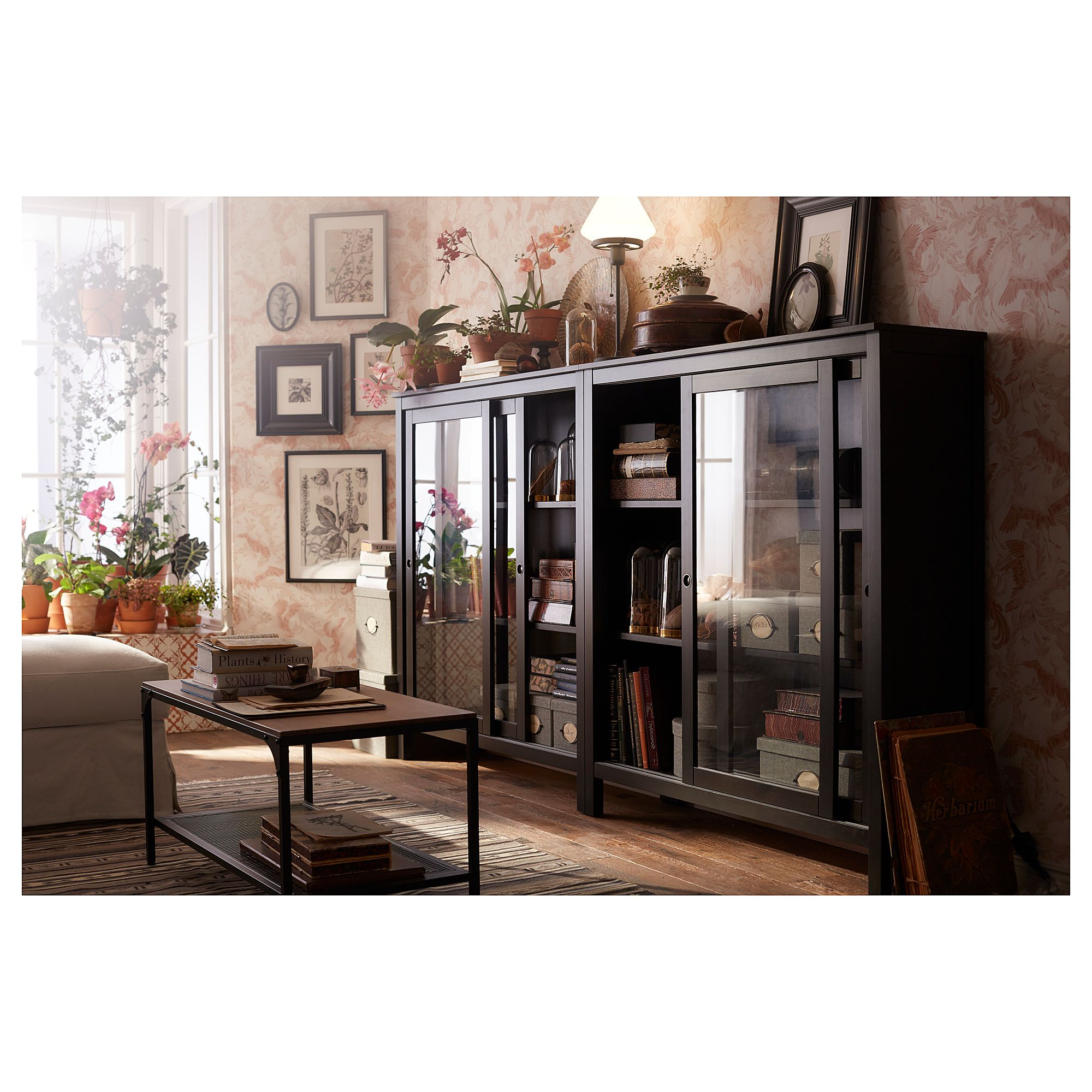Best Ikea Hemnes Glass Door Cabinet Black Brown Sliding 640 x 480