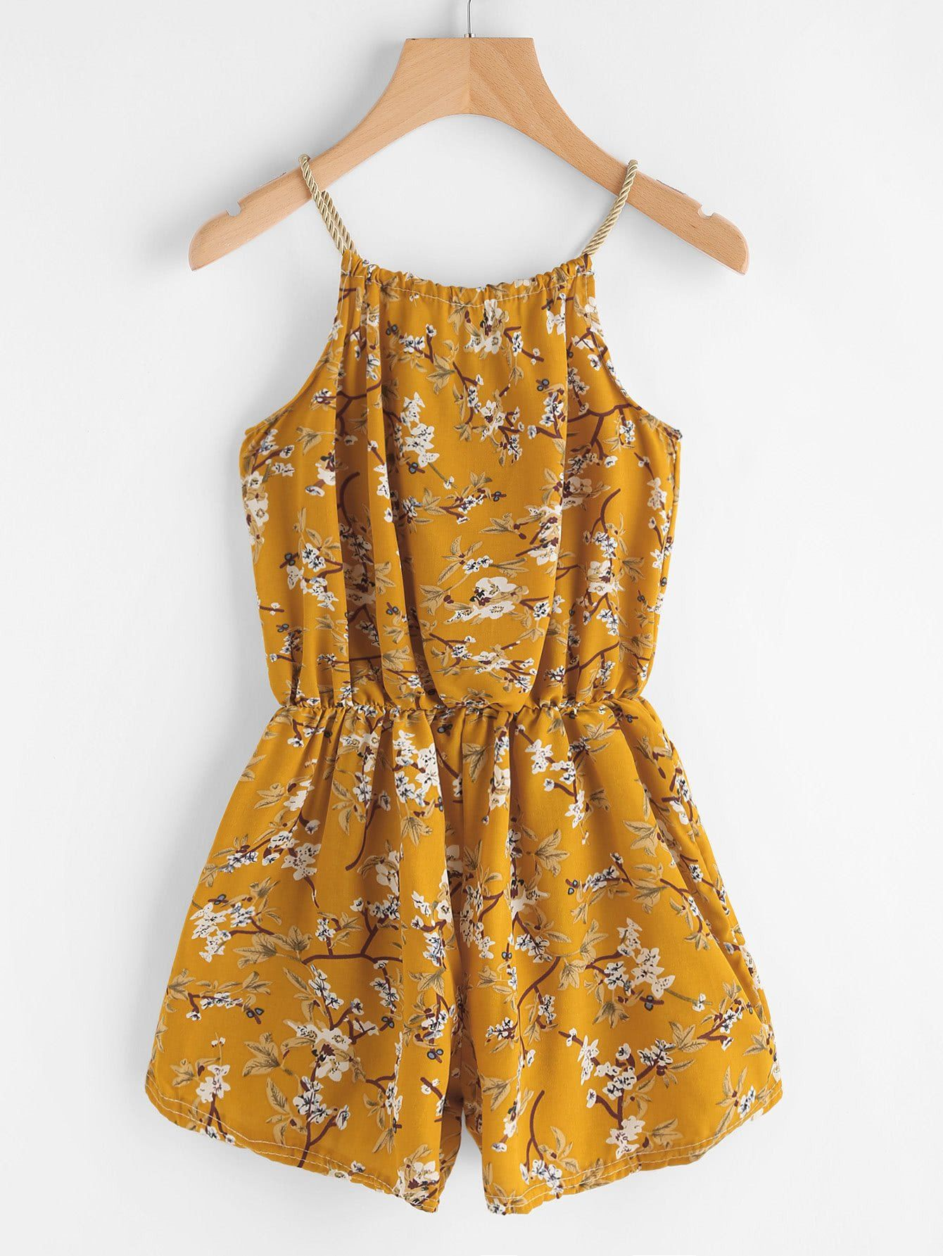 Yellow Overall Floral Print Self Tie Neck Cami Straps