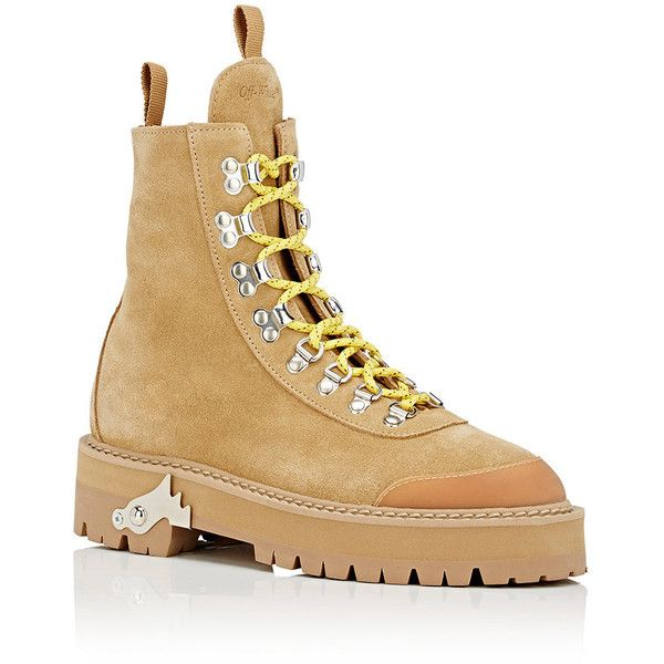 eb2e2fa2c33c9 Off-White c/o Virgil Abloh Women's Suede Hiking Boots ($930) ❤ liked on  Polyvore featuring shoes, boots, ankle booties, ankle boots, short heel  boots, ...