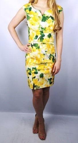 Oscar de la Renta Yellow Floral Print Amal Clooney Celeb Dress Size 6 $1890 #OscardelaRenta #Sheath #Cocktail