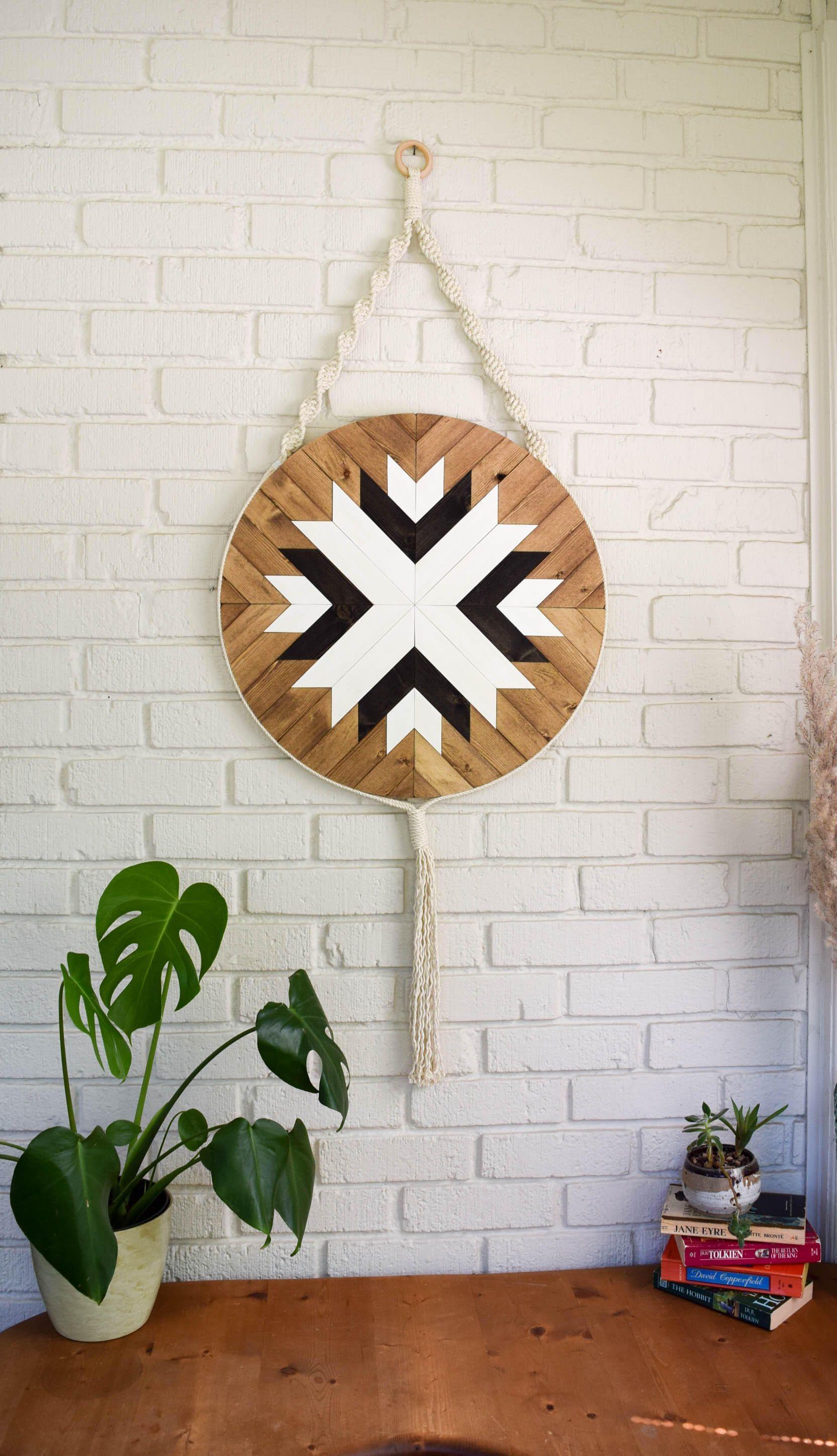 Wood wall art macrame wall hanging boho wood art round madera in