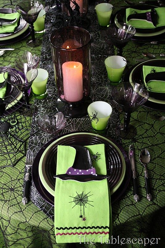 Halloween tablescape with green and purple
