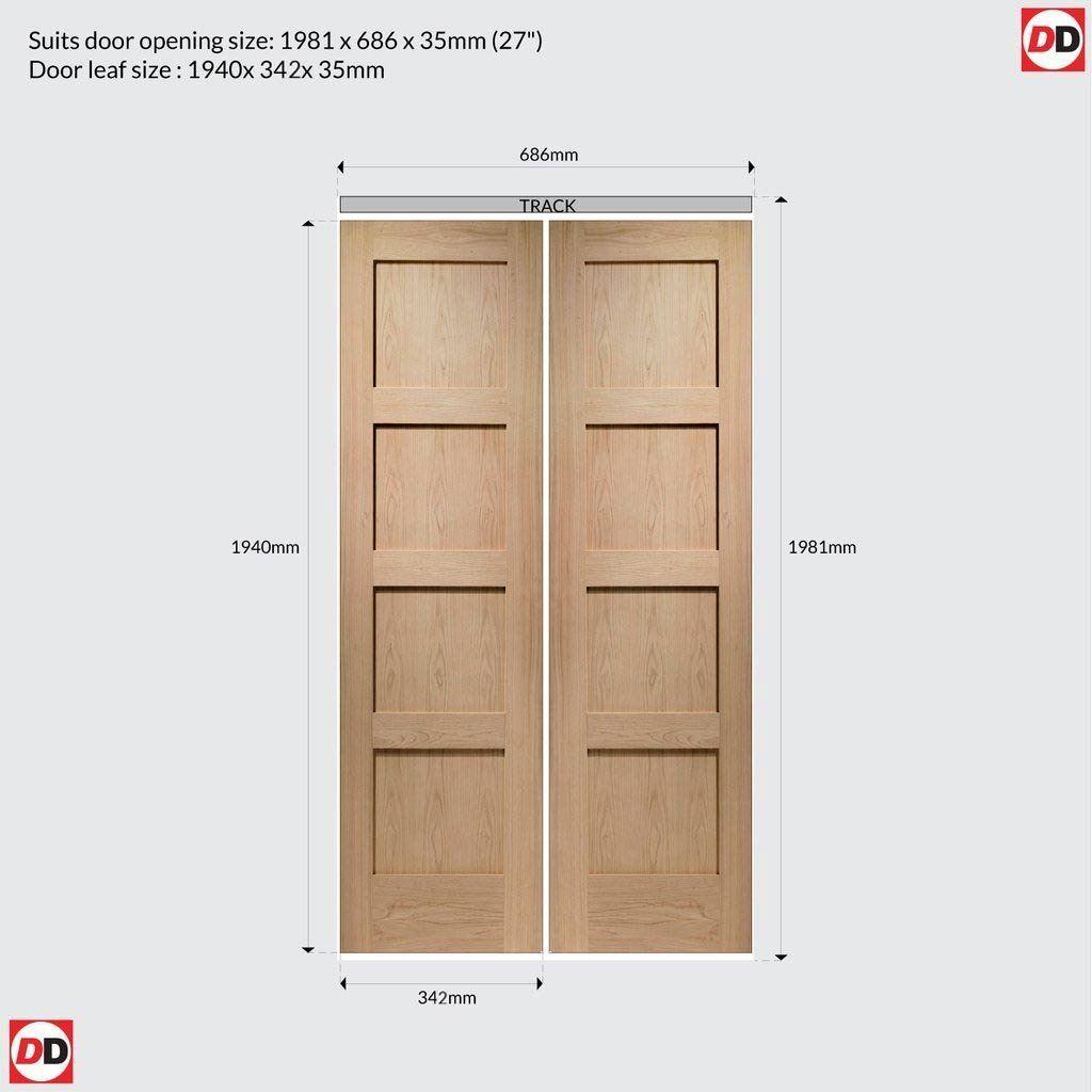Contemporary 4 Panel Oak Bifold Door In 2020