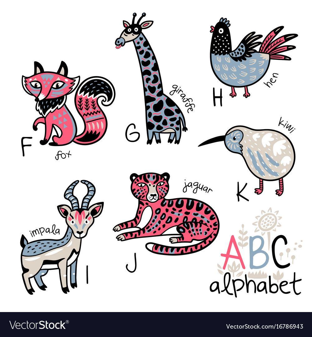 Animals Alphabet F K For Children Vector Image On Animal