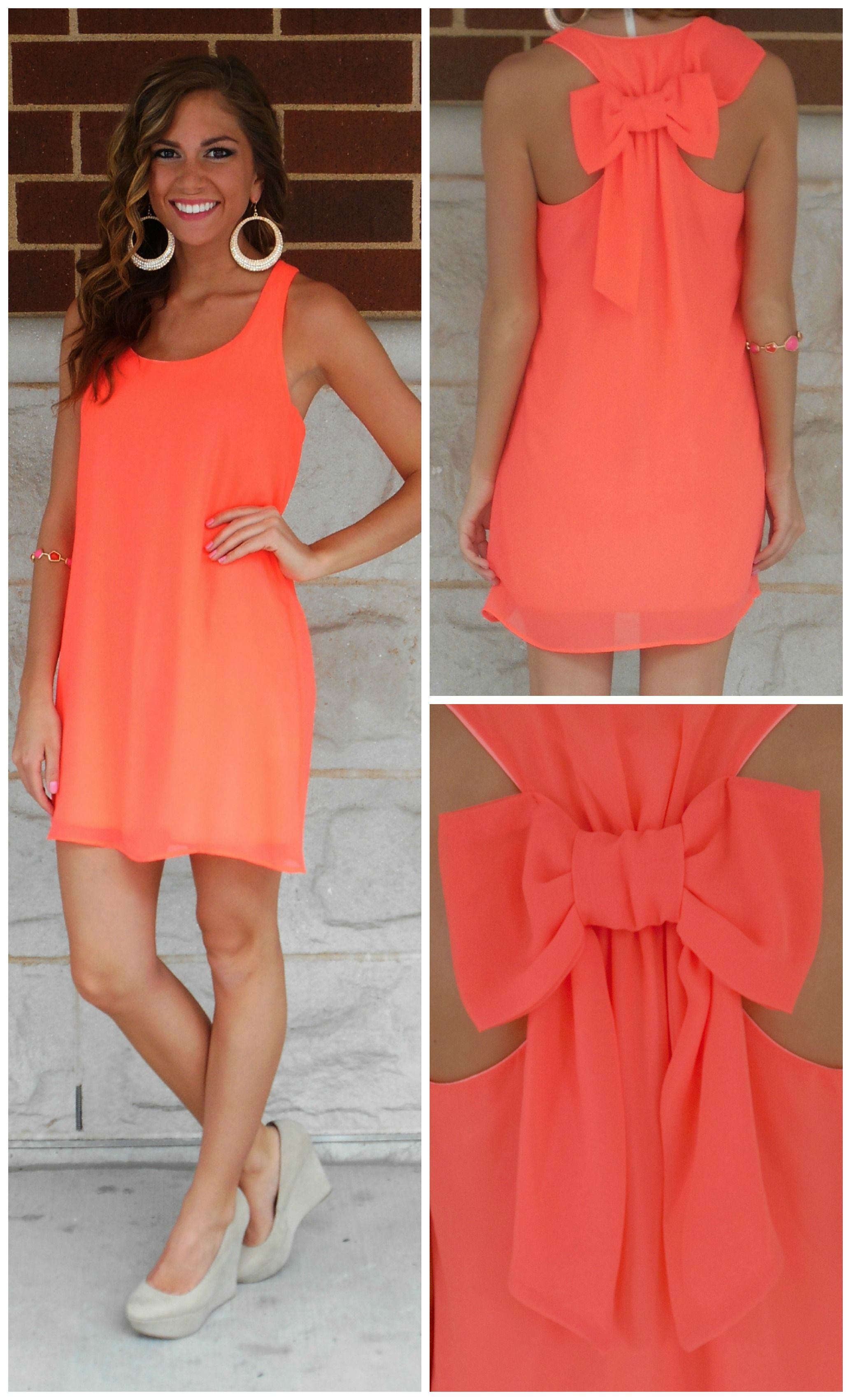 Neon Orange Chiffon Bow Back Shift Dress | Summer, Love this and ...